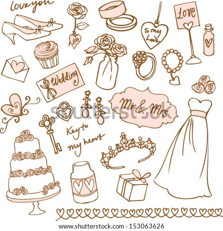 Set of beautiful wedding doodle vectors - stock vector