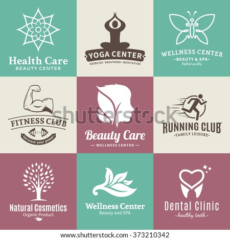 Set of beauty and health logo. Beauty salon and health care branding identity. Beauty and nature icons for beauty salons, health care, cosmetics, spa, yoga and fitness. Health care label design. - stock vector