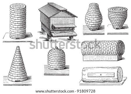 Set of beehives / illustrations from Meyers Konversations-Lexikon 1897 - stock vector