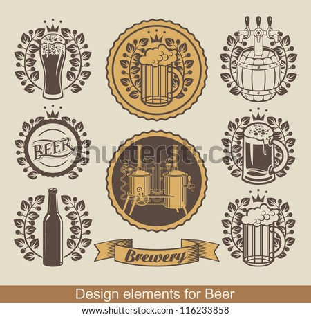 set of beer emblem with laurel wreath