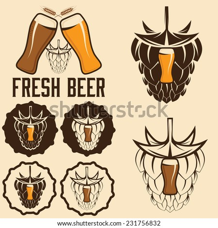 set of beer labels with spikes and hop  - stock vector