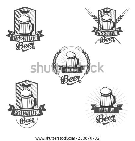 Set of beer mug signs. Scalable vector illustration for your designs. - stock vector