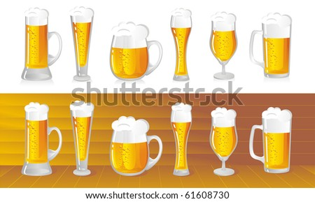 set of beer mugs with a light beer - stock vector