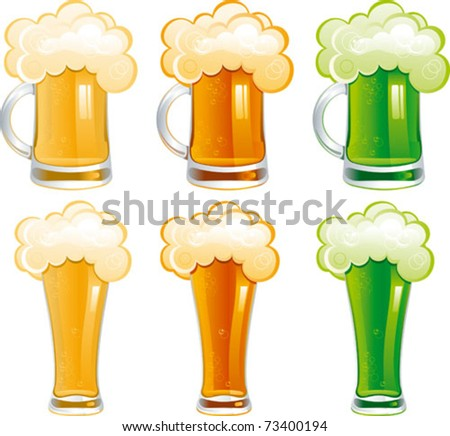 Set of beer. Six mugs and glasses with light, dark and Irish green beer