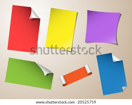 set of bended note papers