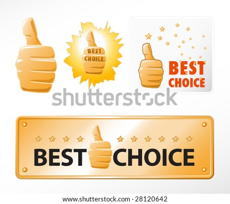 """Set of """"best choice"""" signs - stock vector"""