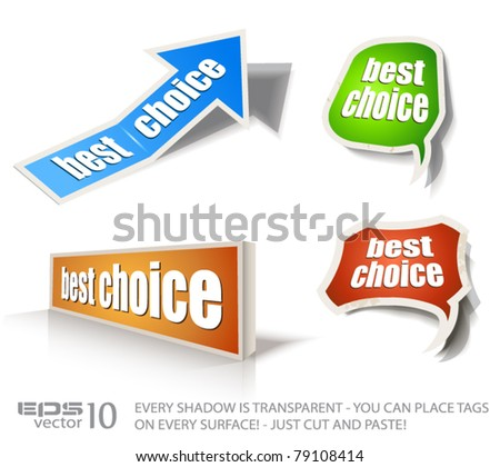 "Set of ""Best Choice"" speech bubble sticker with transparent shadows, ready to be placed on every surface."