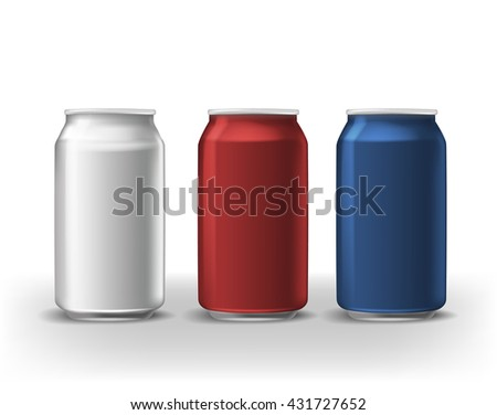 set of beverage cans. White red blue vector aluminium cola cans.