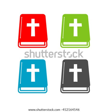 Set of Bible holy book with cross flat icon for apps and websites - stock vector