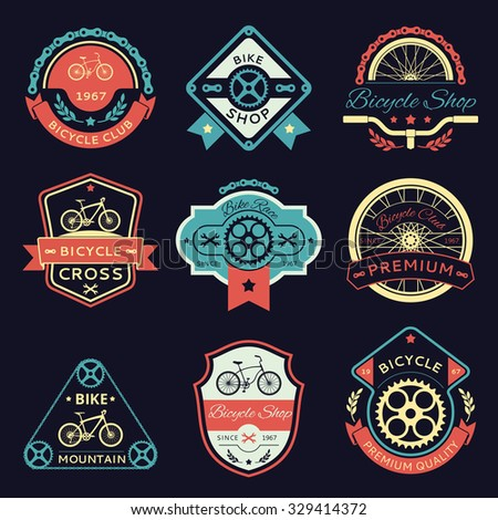 Set of bicycle and bike color vector logo emblems and labels. Wrench and shop, gear and transport, sport label illustration - stock vector