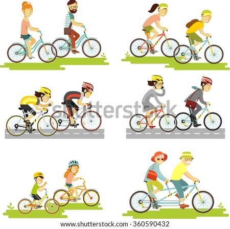 Set of bicycle rider couple in flat style. Cyclist man, woman, children, hipster, older, racing cyclist on bike and tandem - stock vector