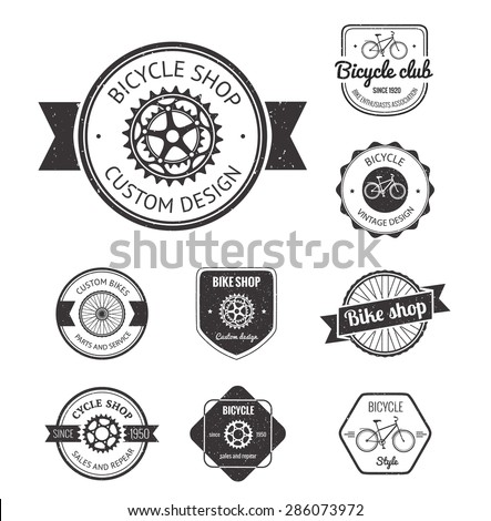 Set of  bicycle shop logo badges and labels made in vector - stock vector