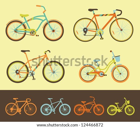 Set of bicycles - stock vector