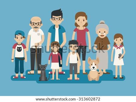 Set of big happy family character , eps10 vector format - stock vector
