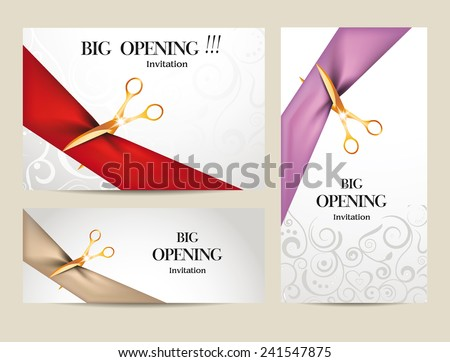 Set Big Opening Invitation Cards Ribbons Vector 241547875 – Inauguration Invitation Card Sample