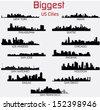 Set of Biggest American cities vector skylines - stock vector