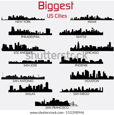 Set of Biggest American cities vector skylines - stock vector