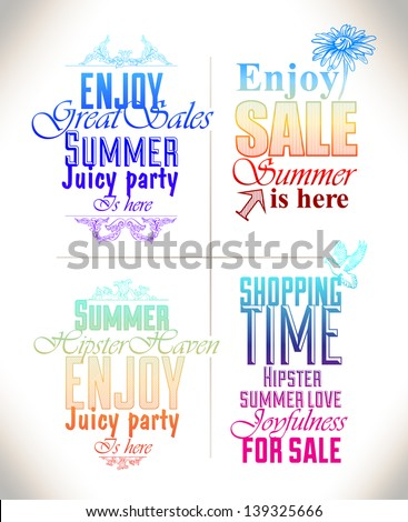 Set of bight summer hipster label and text composition, discounts, advertising, on an abstract, colorful background. - stock vector