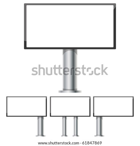Set of billboards for advertising layouts 6 x 3 on steel columns, part 1, vector illustration - stock vector