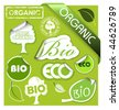 Set of bio, eco, organic elements - labels, stickers, stamps, ribbons - stock