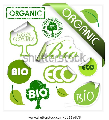 Set of bio, eco, organic elements - labels, stickers, stamps, ribbons - stock vector