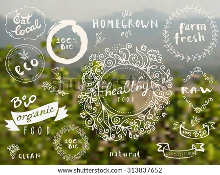 Set of 100% bio, organic, eco, clean healthy food labels. Hand drawn logo templates with floral vintage elements on blurred countryside background. Hipster style vector badges for food package - stock vector