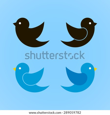 Set of bird icons isolated on blue background.  Vector illustration. - stock vector