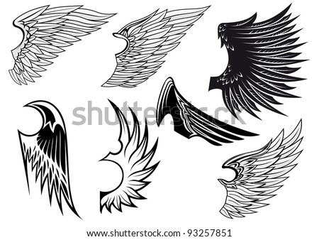 Set of bird wings for heraldry design isolated on white background, such a logo. Jpeg version also available in gallery - stock vector