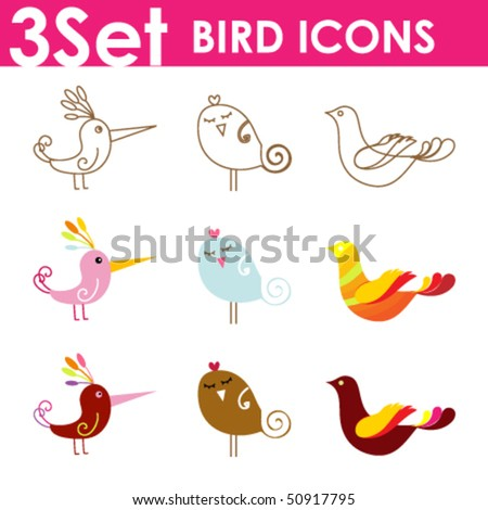 Set of birds icons for website or network. vector illustration. - stock vector