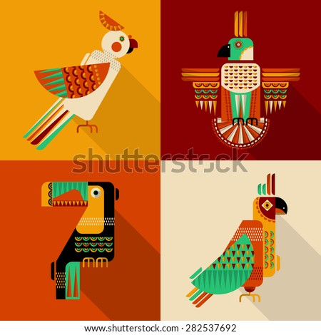 Set of birds in geometric style. Toucan, parrot, parakeet, cockatoo in Mexican style. Vector illustration - stock vector