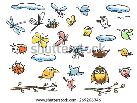 Set of birds, insects. Doodle vector.  - stock vector