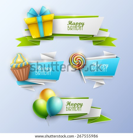 Set of birthday banners. Vector illustration. - stock vector