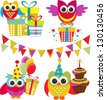 set of birthday elements with cute owls - stock vector
