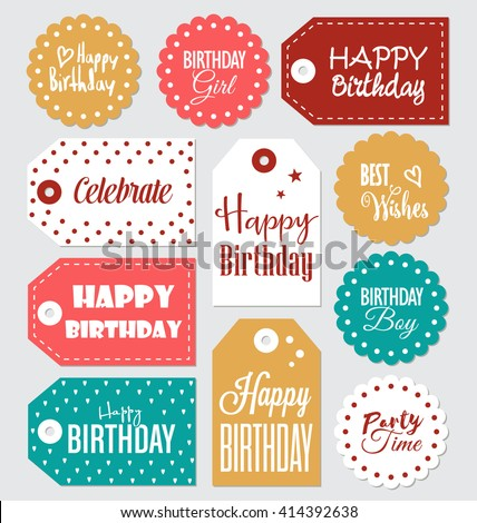Set birthday gift tags typographic vector 414392638 set of birthday gift tags typographic vector design with illustrations and wishes happy birthday tamed negle Image collections