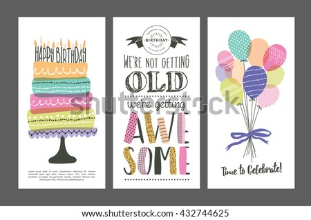 Set Birthday Greeting Cards Design Vector 432744625 – Photos of Birthday Greeting Cards