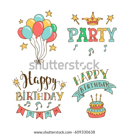 Set birthday hand drawn illustrations greeting stok vektr 609330638 set of birthday hand drawn illustrations for greeting cards design isolated on white background happy m4hsunfo