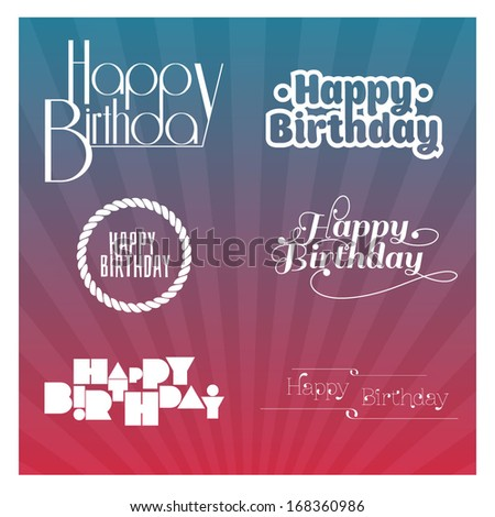 Set of birthday icons - stock vector