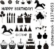 Set of Birthday icons. Isolated on white background. Vector illustration - stock vector