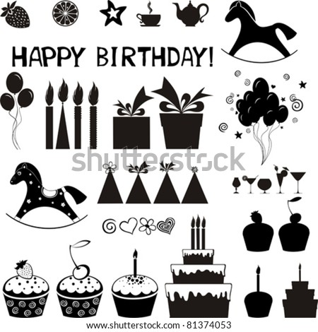 Set of Birthday icons. Isolated on white background. Vector illustration