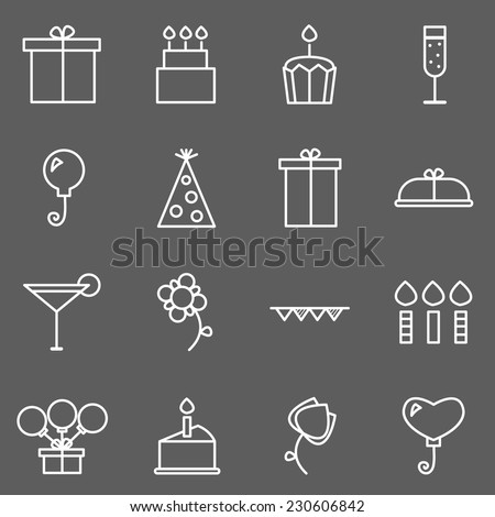 Set of birthday icons. Vector. - stock vector