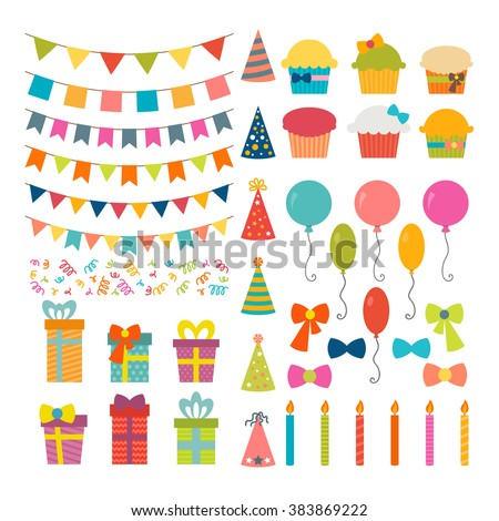 Set of birthday party design elements. Colorful balloons, flags, confetti, cupcakes, gifts, candles, bows and decorative ribbons. Vector illustration - stock vector
