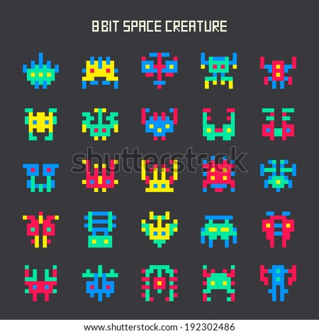 set of 8-bit game color space monsters - stock vector