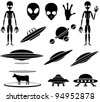 Set of black Alien icons on white background, illustration - stock vector