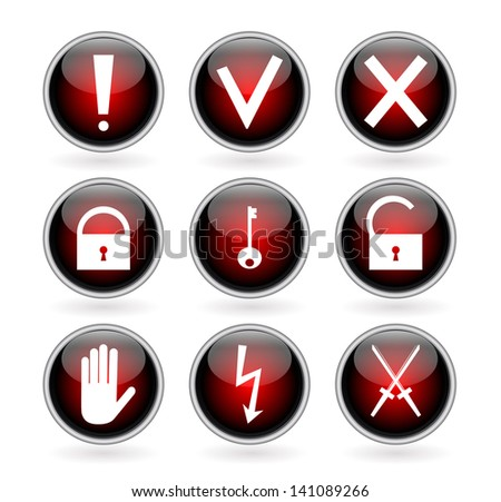 Set of black and red glossy buttons with security, hazard and warning signs. Vector illustration. - stock vector