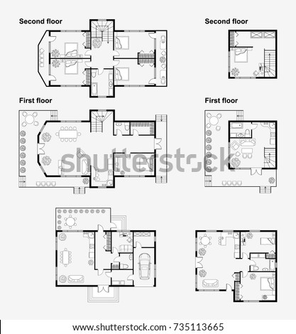Set Black White Architectural Plans House Stock Vector 735113665