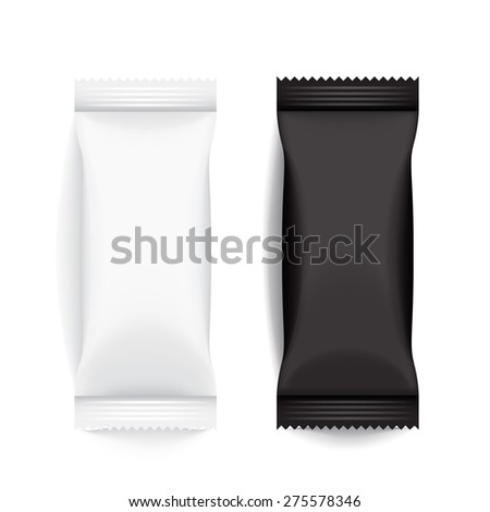 Set of Black and White Blank Foil Packaging : Vector Illustration EPS10 - stock vector