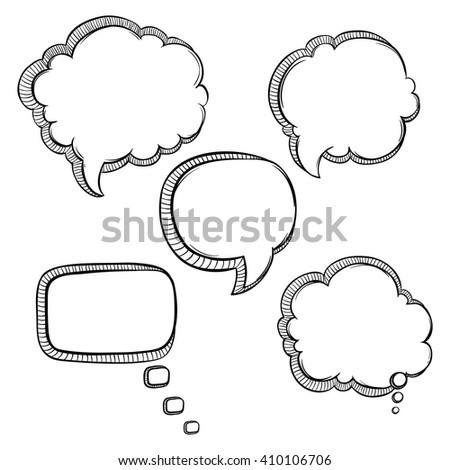 Set of Black and White Bubbles Talk With Sketchy or Hand Drawing Style on White Background