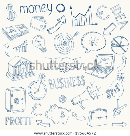 Set of black and white business and money infographic vector doodle sketch icons depicting  investment  savings  success  analytics  targets  planning  handshake  security and currencies - stock vector