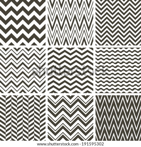 Set of black and white chevron seamless patterns - stock vector