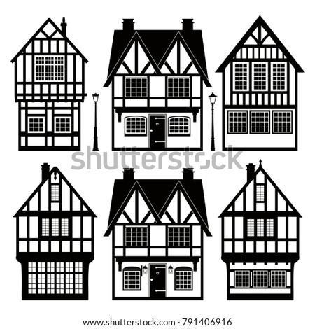 Set Of Black And White Cottages Lampposts Vector Illustration